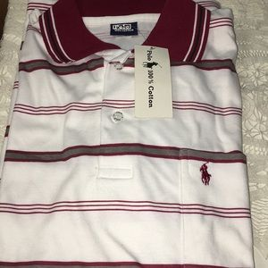 Polo Maroon, Grey, Black Strips on White Classic